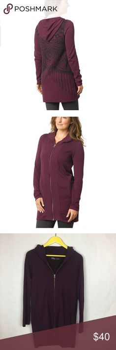 """PrAna Misha Duster Sweater Hooded Zip Up Good condition. PrAna Misha Duster Sweater Hooded Zip Up in Black Plum.  Size Small. Jacquard Print Pattern on Back.  ▪️Armpit-Armpit  18.5"""" ▪️Length 31.5"""" ▪️Fabric  100% organic cotton  Measurements are approximate.  Please refer to photos is they provide the best description. No trades. Offers welcome. Prana Sweaters"""