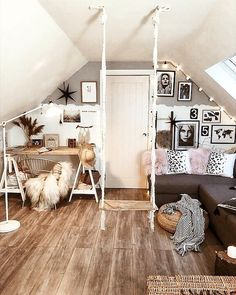 A loft space boho glam with office space and seating area, wood floor and cosy vibes Uk Homes, Sheepskin Rug, Dark Interiors, Loft Spaces, Wood Floor, Bohemian Decor, Cushion Covers, Dried Flowers, Interior Inspiration