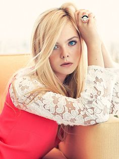 Elle Fanning, love the layered lace sweater look too