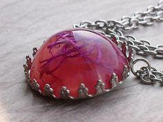 Dried Purple moss bubble pendant necklace