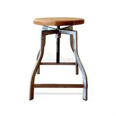 Replica Turner Timber Seat Industrial Stool - Galvanized