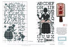 0 point de croix abécédaire femme brodant - cross stitch stitching lady alplhabet