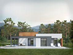 Projekt domu Amika on Behance Bungalow House Design, House Front Design, Modern Bungalow, Small House Design, Home Design, Design Ideas, Interior Design, Best Modern House Design, Modern Villa Design