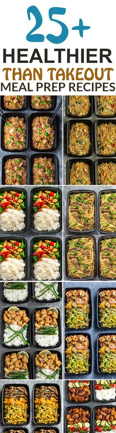 More than 25 of the most popular Asian Takeout favorites made Healthier and into Meal Prep Recipes. Including Chicken Chow Mein, Fried Rice, Chicken and Beef Lo Mein, Cashew Chicken Chicken Pad Thai, Shrimp Teriyaki Zoodles, Beef Teriyaki Zoodles, Honey Lemon Chicken, Sweet & Sour, Kung Pao Chicken, General Tso's Chicken + more. Perfect for Sunday meal prep for school or work lunchboxes or lunch bowls. #mealprep #takeoutfakeout #sunday #healthy #noodles #chinesefood #asianfood