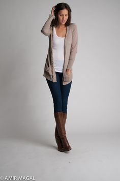 Loose knit ctn no closure cardi