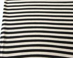 Black and Oatmeal Stripe Knit Jersey 3/4 Yards by felinusfabrics, $4.75