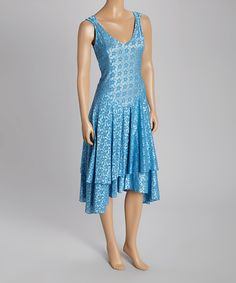 Look at this #zulilyfind! Powder Blue Tier V-Neck Dress #zulilyfinds