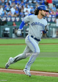 Bo Bichette of the Toronto Blue Jays runs to first base on his first Major League hit against the Kansas City Royals at Kauffman Stadium on July 2019 in Kansas City, Missouri. Get premium, high resolution news photos at Getty Images Baseball Guys, Sports Baseball, Baseball Jerseys, Baseball Cards, Golf Stores, Toronto Blue Jays, Kansas City Royals, Major League, Mlb