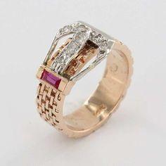 Deco Retro 14k Rose White Gold Diamond Buckle Ruby Buckle Ring Fine Jewelry Used | eBay