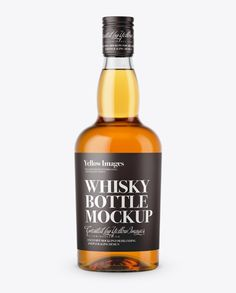 Clear Glass Whiskey Bottle Mockup - Front View. Preview