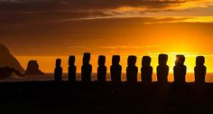 Just down the hill from the quarry from which the magnificent Moai were carved lies Ahu Tongariki the biggest Ahu (platform) on the island of Rapa Nui (also called Easter Island). I went out for sunrise on most mornings on a recent stay here and had two