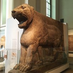 This fierce, 15-tonne lion symbolised Ishtar, the Assyrian goddess of war, and guarded the entrance to her temple. The cuneiform inscription gives the name of the temple's builder, the neo-Assyrian King Ashurnasirpal II (reigned 883-859 BC). Large stone sculptures and reliefs of mythological figures were a striking feature of the palaces and temples of ancient Assyria.