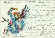 AK Grußkarte mit Spruch, Blumenmotiv mit Vogel ... von 1903 /A701 | eBay