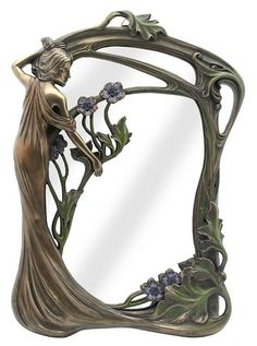Veronese Bronze Figurine Art Nouveau Table Wall Mirror Gift Home Decor