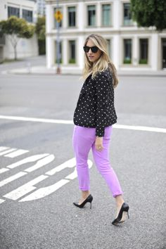 Colored skinny jeans and polka dots from Cupcakes and Cashmere