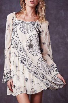 Bell Sleeve Embroidered Sequins Flare Dress