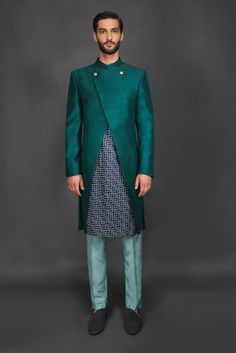 Teal Sherwani with cutwork & ombre inter-lining