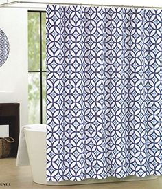 Max Studio Home Cotton Shower Curtain Trellis Moroccan Tile Lattice 72-inch By 72-inch Navy Blue on White Max Studio Home http://www.amazon.com/dp/B00U07740M/ref=cm_sw_r_pi_dp_i1XMvb1H2YJR3