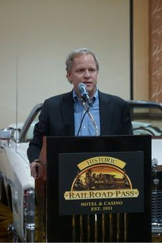 Railroad Pass Hotel & Casino owner, Joe DeSimone speaks at the Grand Opening of Railroad Pass Show Cars in Henderson, Nevada #vintage #classiccars