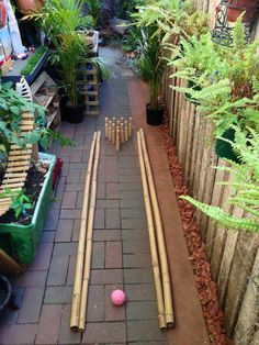 Bamboo bowling alley at Puzzles Family Day Care Outdoor Play Spaces, Outdoor Art, Outdoor Living, Outdoor Learning, Outdoor Activities, Family Day Care, Outdoor Playground, Playground Ideas, Backyard Lighting