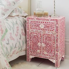 Not really for me, but very pretty: Storage Furniture - Pink & Mother of Pearl Bedside Table - Graham and Green - nightstand, pink, bone inlay Pink Bedside Tables, Pink Nightstands, Painted Furniture, Home Furniture, Furniture Design, Pink Furniture, Eclectic Furniture, Bedroom Furniture, Bedroom Cabinets
