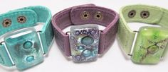 Leather Bracelet with fused Glass 1 wide Argentinean por CarliBruno
