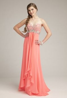 Coral and Adorable - Beaded Empire Dress #prom
