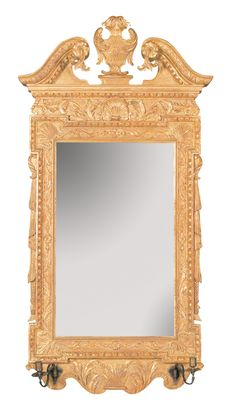 George II Mirror with Scroll Top and Sconce Arms