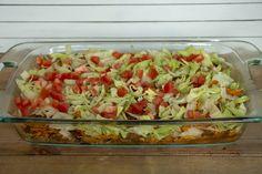 Quick Taco Casserole - Paisley Farm Foods Four Bean Salad, Taco Pizza, Taco Casserole, Nacho Cheese, Hamburger Recipes, Ground Beef, Salad Recipes, Easy Meals, Tacos