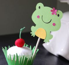 Frog Cupcake Toppers and Grass Cupcake Wrappers, Frog Prince, Frog Birthday, Frog Theme, Frog Party, 24 Pcs, 12 Sets. $16.00, via Etsy.