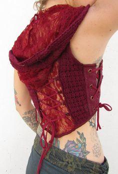 Maroon Lace Pixie Waistcoat Vest by KhushiClothes on Etsy Elf, Psytrance, Goa, Rave, Pixie, Vest, Crochet