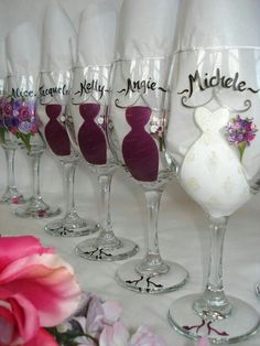 Personalized bridesmaid wine glasses