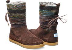 Brown Wool Stripe Women's Nepal Boots | TOMS
