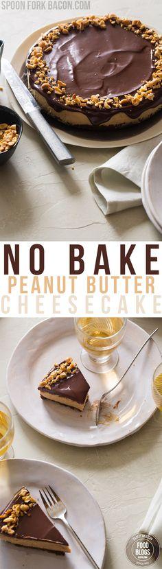 No Bake Peanut Butter Cheesecake Recipe @FoodBlogs.com