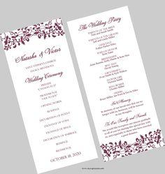 Wedding Program Template  Tea Length  Elegant by MyExpressionShop