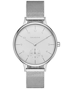 Minimalist chic: you'll love the sophisticated tone-on-tone styling of this Anita collection Skagen watch. | Stainless steel mesh bracelet | Round case, 34mm | Silver-tone chronograph dial with stick