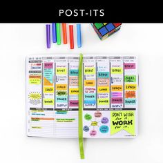 You can never have too many Post-its. Here are some Post-It tips you can use for your planner! 1) Use Post-Its to help time-block your appointments 2) Color code different activities throughout the week. Work? Blue. Errands? Red! Or choose whichever colors you like! 3) Sometimes we need to change our plans. Post-Its are perfect for this!