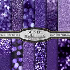12 printable bokeh and glitter scrapbooking paper in violet purple hues. Great for photo backdrops and digital and physical scrapbook projects. Also available in other colors.