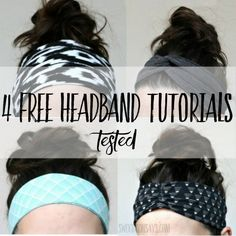 4 Free Headband Tutorials - Tested - Swoodson Says I love headbands. I think they look cute with a ponytail, they hide if I haven't showered in days, they use up fabric scraps, and for whatever sensory reason they just feel good. Prepping for Fabric Headband Tutorial, Headband Pattern, Diy Headband, Knitted Headband, Bow Tutorial, Flower Tutorial, Easy Sewing Projects, Sewing Projects For Beginners, Sewing Tutorials