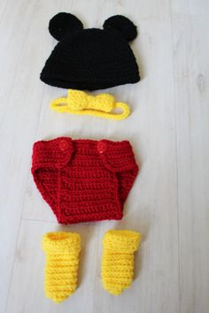 Mickey Mouse Newborn Photo Set - Crocheted diaper cover, boots, hat, bow tie