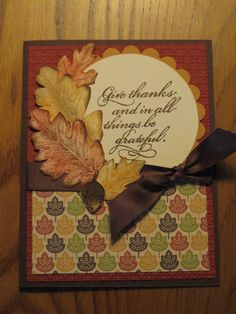 Handmade Thanksgiving Fall Blessings Card by stampinmemories