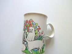 Vintage White Cat Coffee Mug 1980s by WylieOwlVintage on Etsy, $14.00