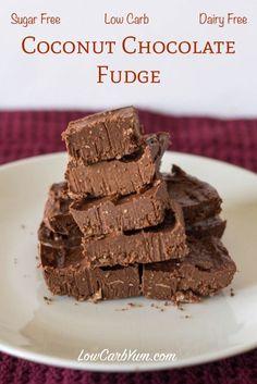 sugar free coconut chocolate fudge recipe #LCHF #keto