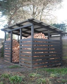 Shed Ideas - Wood shed for 5 cords Now You Can Build ANY Shed In A Weekend Even If You've Zero Woodworking Experience! Diy Storage Shed Plans, Wood Storage Sheds, Wood Shed Plans, Bike Storage, Outdoor Storage, Firewood Shed, Firewood Storage, Wood Store, Woodworking Projects Diy