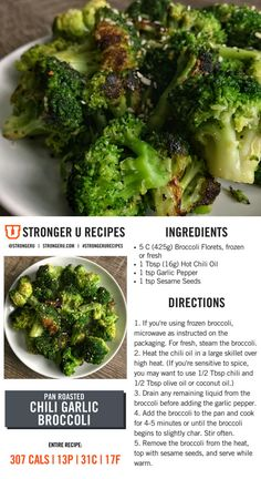 Spice up your vegetable intake in a major way with this pan roasted chili garlic… - Top Trends Veggie Side Dishes, Side Dish Recipes, Veggie Recipes, Diet Recipes, Cooking Recipes, Healthy Recipes, Recipies, Macro Friendly Recipes, Garlic Broccoli
