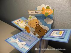Cricut Baby Steps, New Arrival -The Scrappin Rabbit: Baby Boy Shower Card in a Box