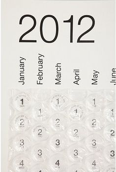 2012 Bubble Calendar. Oversized monthly calendar with air-filled bubbles over each date. Pop a bubble every day and never be in a bad mood. $24.00