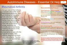 Rheumatoid Arthritis - This disease is such a debilitating condition. Essential oils can help in natural, non-toxic way. Plus, essential oils can be used very frequently, unlike prescription drugs which have harmful side-effects. Check us out at Facebook.com/EssentialOilsforGoodHealth or Twitter at Twitter.com/EOs4GoodHealth for much more information about how essential oils can help you.