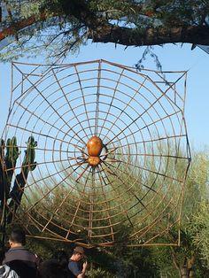 """""""La araña y su tela.""""  De la exposición Grandes insectos de David Roger, en el Jartín Botánico del Desierto, Phoenix, AZ"""