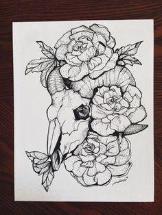 Ink Stipple Sketch: Ram Scull and Flowers by TheGrayFernArt on Etsy https://www.etsy.com/listing/231261255/ink-stipple-sketch-ram-scull-and-flowers